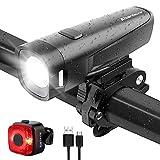 Abenteurer LED Fahrradlicht Set, StVZO USB Fahrradbeleuchtung akku Fahrradlampe Vorderlicht...