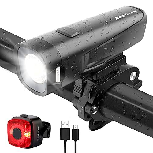 Abenteurer LED Fahrradlicht Set, StVZO USB Fahrradbeleuchtung akku Fahrradlampe Vorderlicht Rücklicht Beleuchtungs-Set, IPX5 Wasserdicht 2600Amh Fahrradleuchtenset Lichtset mit 16 Std. Laufzeit