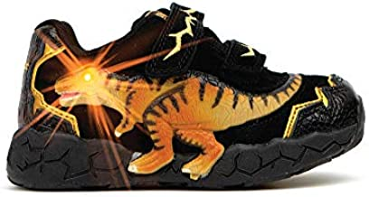 Dinosoles 3D T-REX Flashing LED Low-Top Shoes for Kids Children Boys Girls, Lightweight & Breathable Casual Running Sneakers Walking Shoes with Eye Blinking Dinosaurs, Black (Numeric_1)