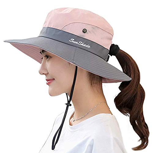 Premium Womens Summer Wide Brim Sun Hat UV Protection Foldable Mesh Caps UPF 50+ Beach Hat Adjustable Fishing Cap (Pink)
