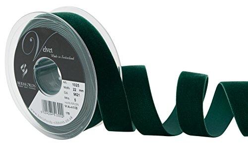 Berisfords - Cinta de Terciopelo, Terciopelo, Verde Oscuro, 10.2 x 3.0 x 10.2 cm