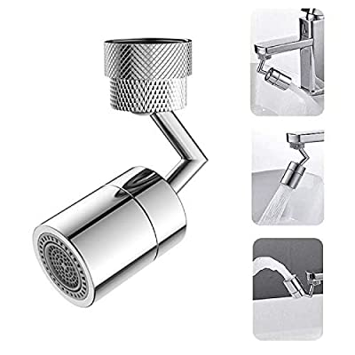 Universal Splash Filter Faucet- 720° Rotate Faucet Aerator Sink Movable Tap Head Rotatable Filter Nozzle Swivel Head Replacement Anti-Splash Tap Booster Water Saving Faucet Sprayer Kitchen Bathroom