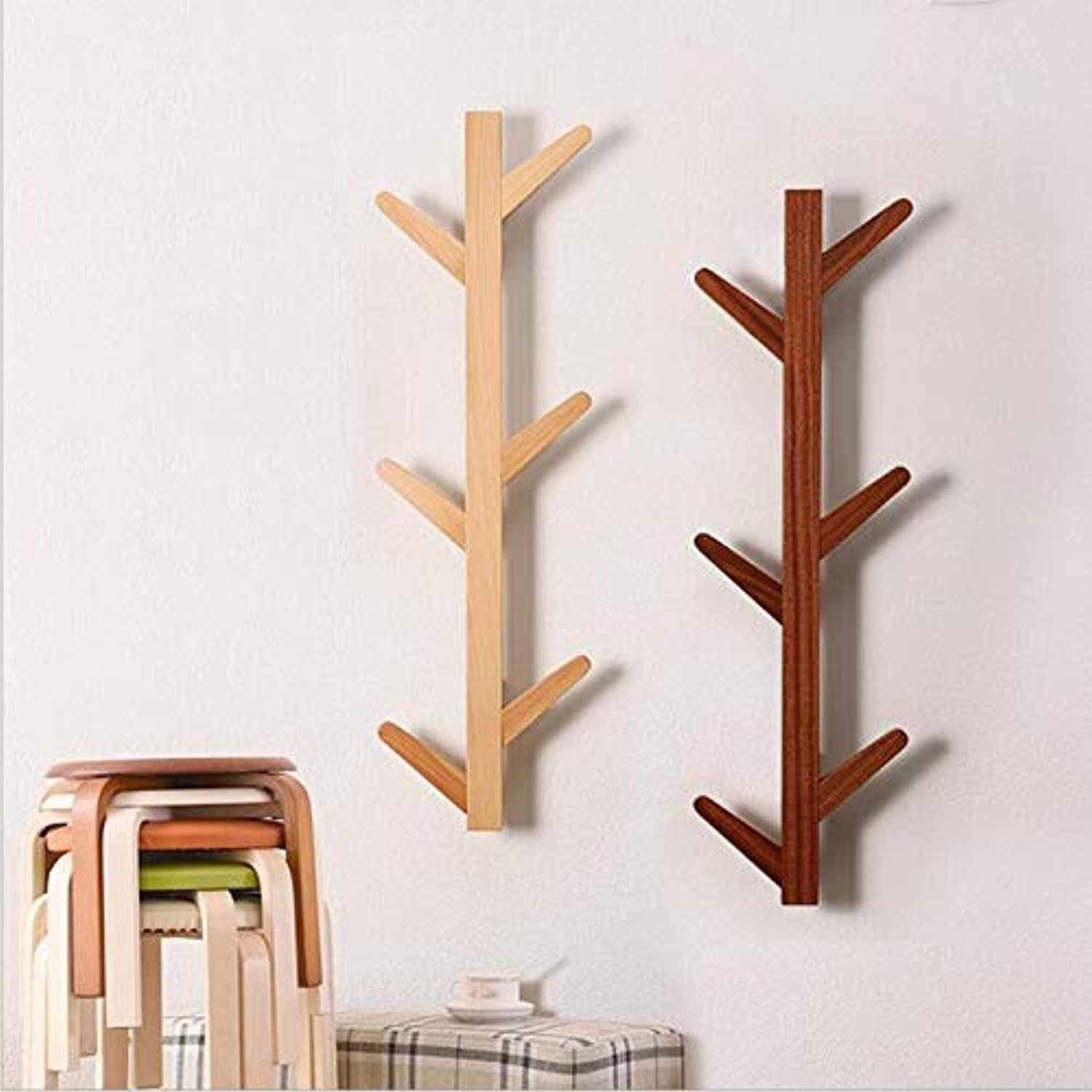 Coat Rack Solid Wood Tree twig Wall Hook Towel Rack for Home Office Hallway Waiting Room Living Room Bedroom 6 Hooks Black Ebony