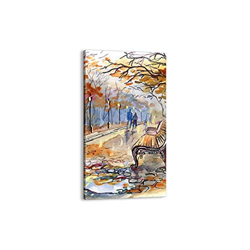 Quadro su tela - Elemento unico - Percorso Panchina Autunno donna - 55x100cm - Pronto da appendere - Home Decor - Stampe su Tela - Quadri Moderni - completamente incorniciato - PA55x100-3000