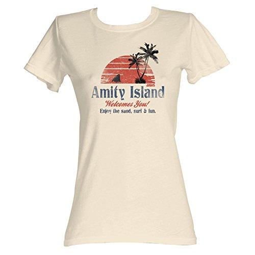Jaws Movies Amity Island Juniors Camiseta de manga corta - M