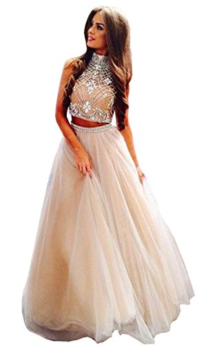 Lovelybride Noble 2 Piece High Neck Embellished Bodice Tulle Ball Gown Prom Dress, Ivory,8