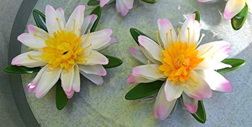 Maison en France Teichdekoration- 2 Stück sehr stabile Seerose 15 cm in grün-gelb- täuschend echt-hübsche Teichdekoration, robuste Blätter,