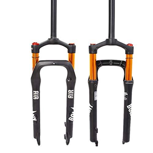 Neumáticos 26er Fat 4.0 Horquillas con suspensión neumática para Bicicletas, Tubo Recto Manual/Bloqueo de Corona Horquillas para Bicicletas de montaña, 28.6 Threadless 9mm QR Travel 100mm Hub Spacin