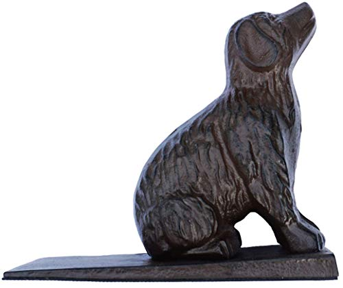 Lulu Decor, Cast Iron Dog Door Stopper, Doorstops Weight 5 Lbs, 8.5' x 7.5' x 3.5' (Brown)