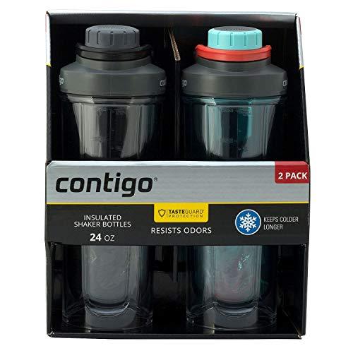 Contigo Shake & Go Fit Shaker Bottles, BPA-Free, Leak-Proof Lid, Double Wall Insulated Tritan Plastic, 24oz, 2 Pack (Black/Blizzard)