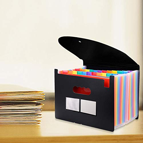 24 Pockets Expanding File Folder with Cover Accordian File Organizer Portable A4 Letter Size File Box,High Capacity Plastic Colored Paper Document Organizer Filing Folder Organizer Photo #2