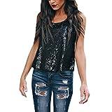 FRAUIT Donna T-Shirt in Cotone Senza Spalline Canotta Ragazze Eleganti da Sera Magliette Estive Particolari Paillettes Donne Top per Primavera