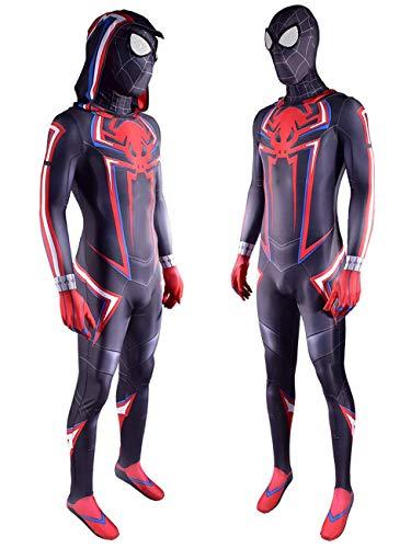 CXYGZLJ Superhero Spider-Man con Capucha Body, Spider-Men Cosplay Costume Lycra Traje de Halloween, Estreo 3D Negro Mascarilla (Nio Adulto),Men XXXL