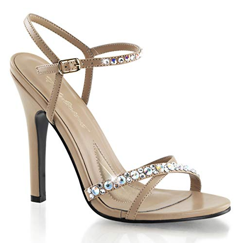 Fabulicious Melody-15 - sexy High Heels Sandaletten mit Strass, Taupe, 35-41