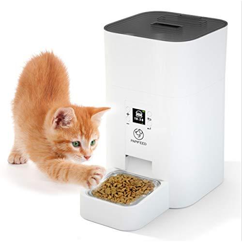 Alimentador Automático, Dispensador Automático De Alimentos, Alarma De Nivel Bajo De Alimentos Y Detección De Infrarrojos, Temporizador Programable, Gatito Cachorro Mascota Mediano Pequeño (4L)