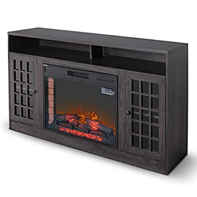 "DELLA 59"" TV Stand Electric Fireplace Insert Media Console with Bookcase w/Remote Control Grey, Brown, White"