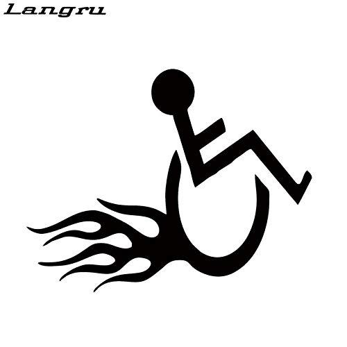 JYIP Auto Stying Rollstuhl Handicap Hot Rod Flammen Aufkleber für Auto Fenster LKW Stoßstange Kajak Vinyl Aufkleber blau