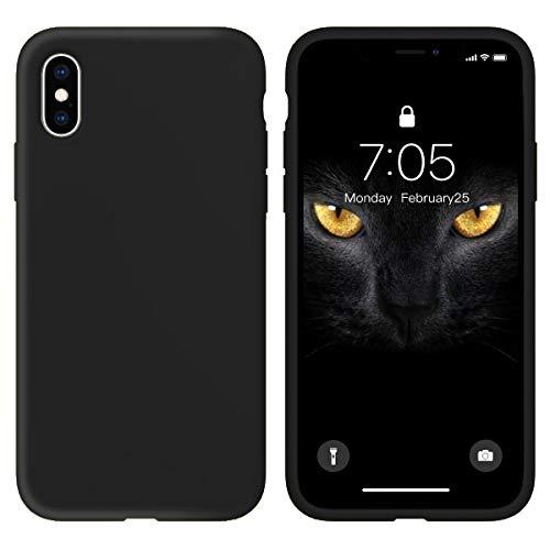 Oihxse Silicona Matorral Funda Compatible con iPhone SE 2020/iPhone 7/iPhone 8/iPhone 9 Case Ultra Delgada Suave TPU Protector Carcasa Moda Linda Color Anti-Rasguño Caso Bumper Cover (Negro)