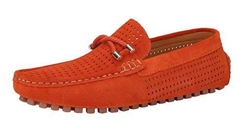 Yaer Herren Klassisch Loafer Wohnungen Wildleder Mokassins Slip On Flache Fahren Schuhe Slippers(Orange-1,44 Asien)