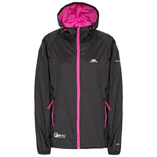 Trespass Qikpac Female Jacket, Black, XS, Kompakt Zusammenrollbare Wasserdichte Jacke für Damen, X-Small, Schwarz