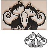YunTrip - Fustelle da taglio in metallo per realizzare biglietti, 2 pezzi, motivo gatto animale per fai da te, album di ritagli, goffratura, foto, artigianato, carta