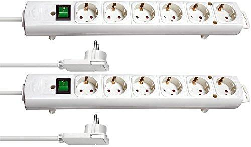 2-Fach Sparset - Brennenstuhl Comfort-Line Plus, Steckdosenleiste 6-Fach (mit Flachstecker, Schalter, 2m Kabel und extra breite Abstände der Steckdosen) Farbe: weiß