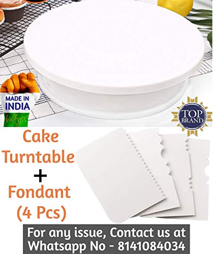 Bulfyss Combo Pack - Cake Turntable Revolving Cake Decorating Stand Cake Stand Sugarcraft 28cm Turntable and Easy Glide Fondant Smoother