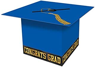 Beistle Graduate Cap Card Box, 8-1/2-Inch by 8-1/2-Inch, Blue, 1 piece