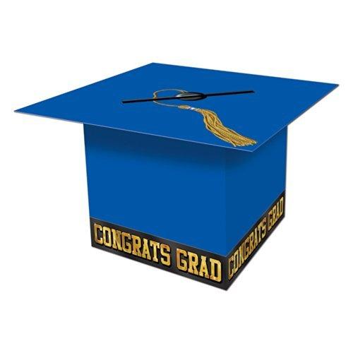 Beistle Graduate Cap Card Box, 8-1/2-Inch by 8-1/2-Inch, Blue, 1 piece