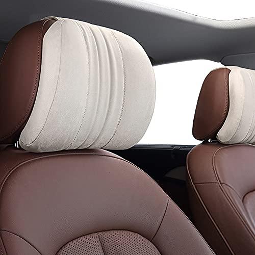 Car Seat Headrest Neck Rest Cushion - Ergonomic Car Neck Pillow Durable 100% Pure Memory Foam Car Seat Neck Support with Breathable Removable Cover (Beige 2PCS)