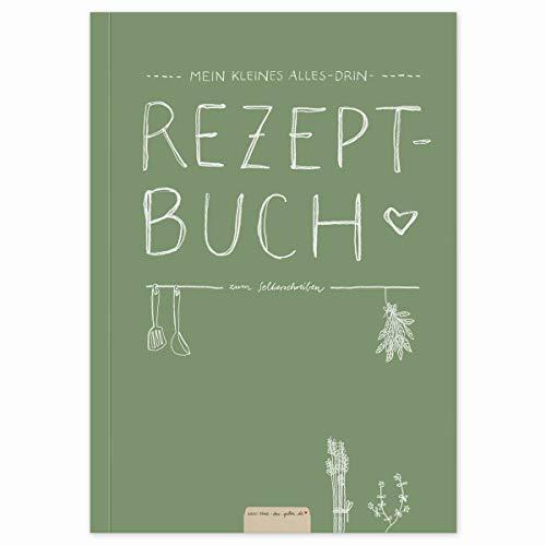 Kleines Alles-Drin A5 Rezeptbuch zum Selberschreiben - DIY Kochbuch, Backbuch schreiben, Geschenkidee, Grün Weiß, Recyclingpapier, Premium Softcover