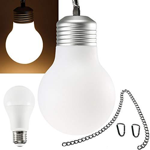 Lampadario a sospensione, 20 cm, IP54, per interni ed esterni, catena da 75 cm, pronto per il collegamento con cavo da 2 m, attacco E27, con lampadina LED da 10 W, senza sfarfallio