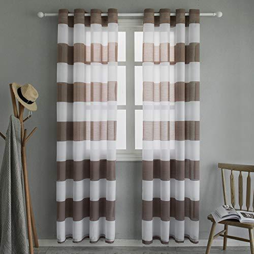 Topfinel Voile Vorhänge mit Ösen Streifen Transparent Gardinen Schlaufenschal für Wohnzimmer Schlafzimmer Kinderzimmer 2er Set je 220x140cm (HxB) Braun
