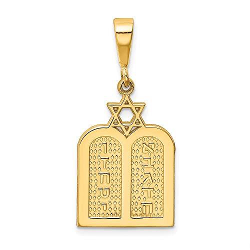 14k Yellow Gold Ten Commandment Tablets with Star Of David Charm Pendant