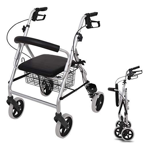 Opslag car Opvouwbare shopping cart/rollator/trolley vier wielen ouderen trolley, boodschappen kar met remhefboom Grote capaciteit cart