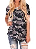 WFTBDREAM Ladies Soft V Neck Tee Plain Short Sleeve T Shirt Tops Blouse Camo Grey XL