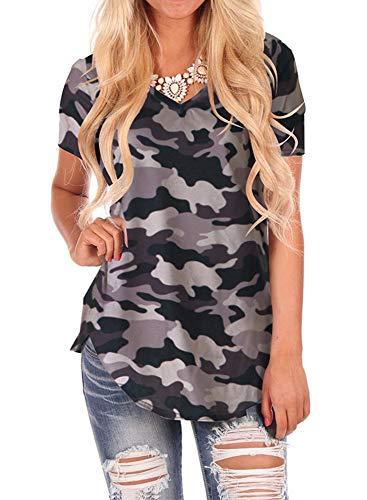 WFTBDREAM Ladies Soft Cotton V Neck Tee Plain Short Sleeve T Shirt Tops Blouse Camo Grey XL