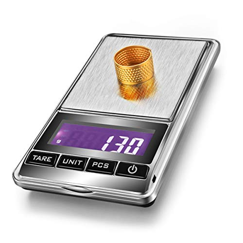 OBVIS Portable Pocket Scale Jewelry Scale Mini Diamond Gold Coin Small Items Weight Gram Weigh Pocket Tool LCD Display Steel Body 300g X 0.1g - Sliver