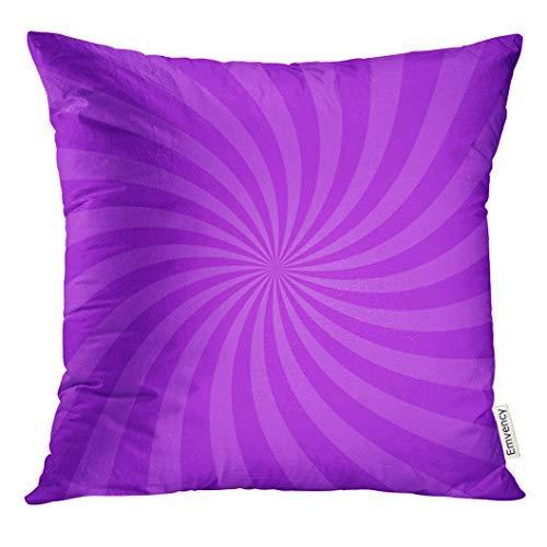 Funda de cojín con diseño de espiral, radial, color morado brillante para Swirl Vortex Starburst Spiral Twirl Helix Rotation Rays Scalable, 45 cm x 45 cm, decoración del hogar, fundas de almohada para sofá, adolescentes, niñas