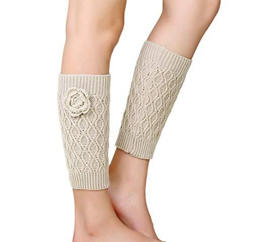 Nanxson Damen Beinwärmer Gestrickte Stulpe Kurz Socken Beinstulpen Ideales Wintergeschenk TTW0052 (L, beige