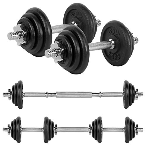 JLL 20kg Cast Iron Dumbbell & Barbell Set 2021, 4x 0.5kg, 4x 1.25kg and 4x 2.5kg weight plates, 4x spin-lock collars, steel connecting bar, hammer tone look, resilient and long lasting training equipment