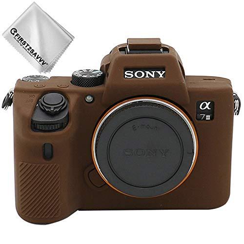 First2savvv Marron Oscuro Cuerpo Completo Caucho de TPU Funda Estuche Silicona para cámara para Sony ILCE Alpha A7 III A7R III A7S III A7M3 XJPT-A7III-GJ-10G11