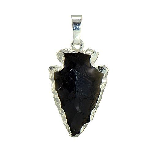 Paialco Natural Obsidiana Negra Gemstone Rock Flecha Forma Colgante Collar de Cristal de curación