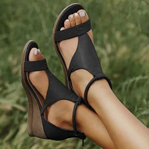 XXZ Frauen Keilabsatz Sandalen Sommer Offene Schuhe Faux Leder Orthopädische Casual Plattform Rom Damen Elegante Flip Flops Freizeit,Schwarz,40