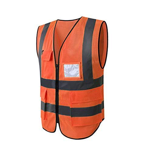 Hycoprot Chaleco de seguridad Reflectante Alta visibilidad Ropa de trabajo Gerente ejecutivo Chaqueta de chaleco Cremallera Brace Seguridad Teléfono móvil Titular de ID de bolsillo(S, Naranja-Malla)