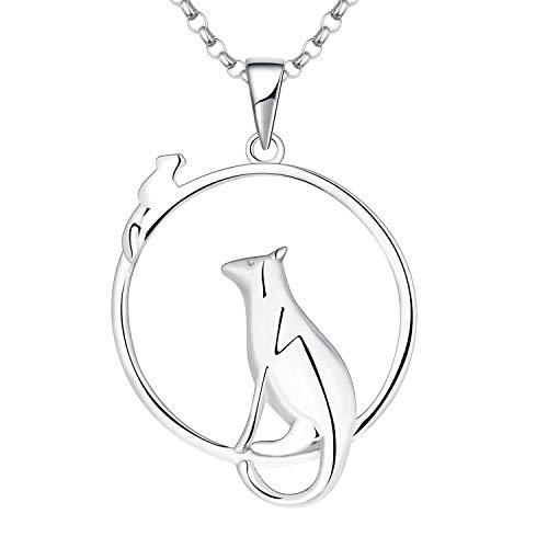 JO WISDOM Collier Chat et Souris Argent 925/1000 Femme, Pendentif Animal Bijoux pour Femmes