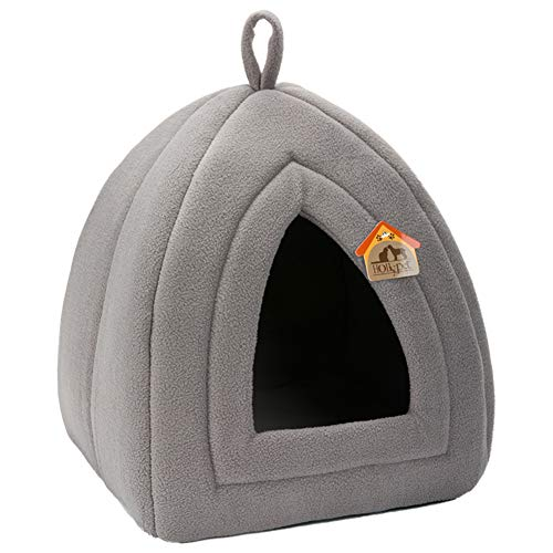 Hollypet Self-Warming 2 in 1 Foldable Comfortable Triangle Cat Bed Tent House, Dark
