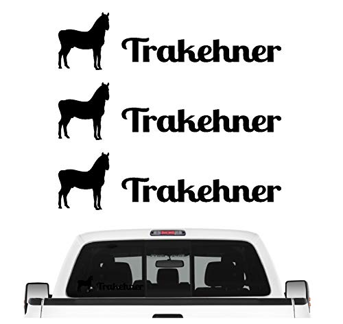 Siviwonder Trakehner Sportpferd Aufkleber 3er Set Pferdeaufkleber Pferd reiten Auto Folie Farbe Schwarz Matt, Größe 10cm