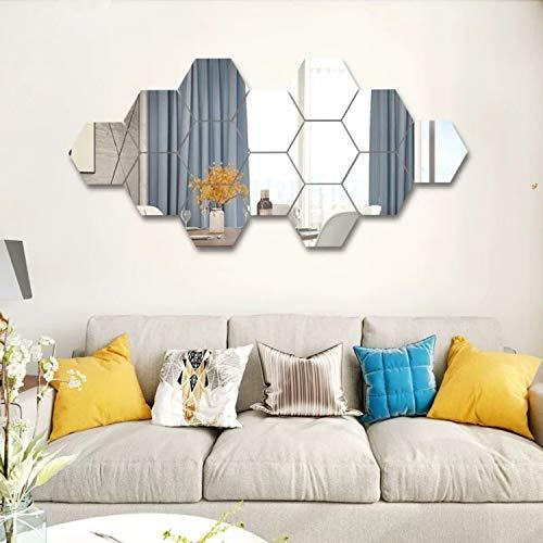 SUNIY 15 piezas de acrílico extraíble con ajuste de espejo adhesivo de pared para el hogar, sala de estar, dormitorio decoración