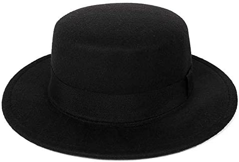 Classic Pork Pie Hat Unisex Flat Top Church Cap Wide Brim Porkpie Fedora Hat in Adult Child product image